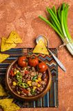 Traditional Mexican chili concarne. Traditional Mexican chili con carne on the table with vegetables and nachos. Selective focus Stock Images