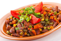 Traditional mexican chili with kidney beans. And tomato on white background Stock Photography