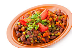 Traditional mexican chili with kidney beans. And tomato on white background Royalty Free Stock Photos