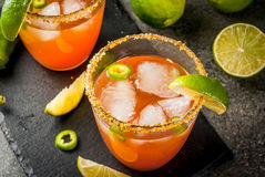 Traditional Mexican cocktail Spicy michelada Stock Photo