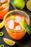 Traditional Mexican cocktail Spicy michelada Stock Images
