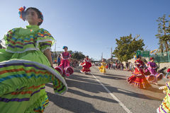 Traditional Mexican Dancers. LOS ANGELES - JAN 28: Parade participants perform traditional Mexican dance in the annual Golden Dragon Parade on Jan 28, 2012 in Stock Image