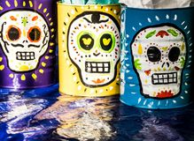 Traditional mexican day of the dead symbols. Photograph of some skulls and mexican symbols of traditional day of the dead celebration Royalty Free Stock Image