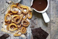Traditional mexican dessert churros with chocolate sause. Stock Photography