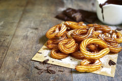 Traditional mexican dessert churros with chocolate sause. Stock Image