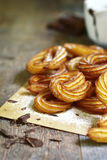 Traditional mexican dessert churros with chocolate sause. Royalty Free Stock Photo