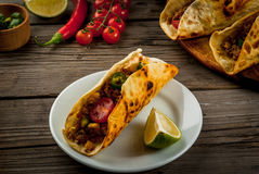 Traditional Mexican dish tacos stock image