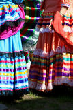 Traditional Mexican Dresses. Three colorful traditional mexican dresses royalty free stock photos