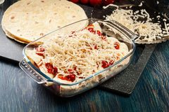 Traditional mexican enchiladas with chicken meat, spicy tomato sauce and cheese in heat resistant dish Stock Images