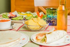 Traditional mexican food with a bowl of nachos royalty free stock image