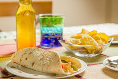 Traditional mexican food with a plate of chicken fajita, bowl of stock images