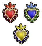 Traditional Mexican hearts with fire and flowers, embroidered sequins, beads and pearls. Vector patches. Traditional Mexican hearts with fire and flowers Stock Photos