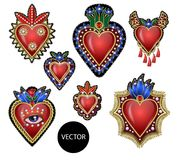 Traditional Mexican hearts with fire and flowers, embroidered sequins, beads and pearls. Vector patches. Traditional Mexican hearts with fire and flowers Royalty Free Stock Photos