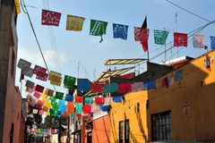 Free Traditional Mexican Houses In Mexico City Mexico Royalty Free Stock Photos - 124075558