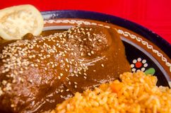 Traditional mexican mole with rice stock photography