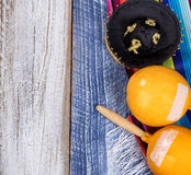 Traditional Mexican objects on rustic wood for Cinco de Mayo hol Stock Photography