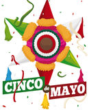 Traditional Mexican Pinata with Confetti, Ready for Cinco de Mayo, Vector Illustration Royalty Free Stock Images