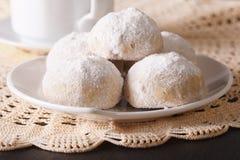 Traditional Mexican polvoron cookies macro on the table. Horizon Royalty Free Stock Photos