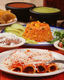 Traditional mexican red enchilada dinner Stock Images