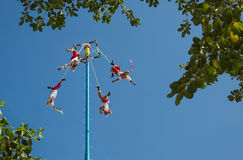 Traditional Mexican ritual Voladores. Dangerous ancient musical ritual in Mexico Stock Image
