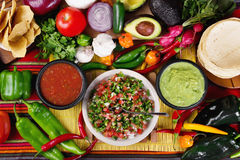 Traditional mexican salsas. Stock image of traditional mexican food salsas and ingredients Royalty Free Stock Photo