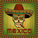 Traditional mexican scull with sombrero Stock Photos
