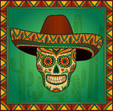 Traditional mexican scull with sombrero Royalty Free Stock Photography