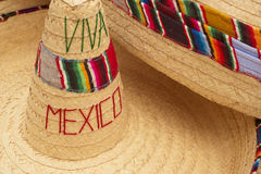 Traditional mexican sombrero straw hat close up Stock Images