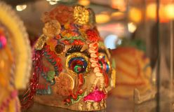Traditional Mexican Sugar Skull. Decorated skull in Mexico City museum stock photos