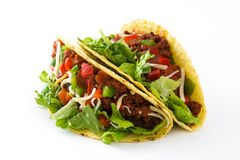 Traditional Mexican tacos with meat and vegetables, isolated Royalty Free Stock Photos