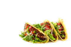 Traditional Mexican tacos with meat and vegetables, isolated Royalty Free Stock Image