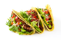 Traditional Mexican tacos with meat and vegetables, isolated Stock Image