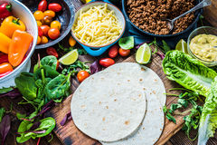 Traditional mexican tortillas or fajita recipe. Stock Photo