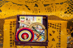Traditional mexican toys and cut paper Royalty Free Stock Images