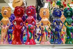 A traditional Mexican toys in Nuevo Progreso, Mexico. A beautiful selections of local Mexican souvenir objects to be founded in Nuevo Progreso royalty free stock images