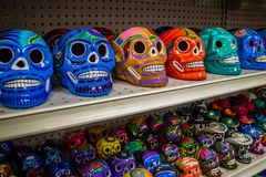 A traditional Mexican toys in Nuevo Progreso, Mexico. A beautiful selections of local Mexican souvenir objects to be founded in Nuevo Progreso stock photography
