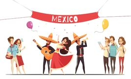 Traditional Mexico Festival Design Concept. With musicians in native costumes and audience with camera flat vector illustration Royalty Free Stock Images