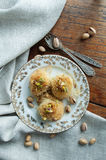 Traditional Middle Eastern dessert baklava. With pistachio nuts Royalty Free Stock Image