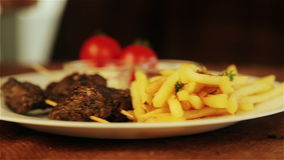 Traditional middle eastern food, shawarma with garnish. stock footage