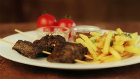 Traditional middle eastern food, shawarma with garnish. stock video footage