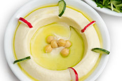 Traditional Middle Eastern hummus plate. top View Royalty Free Stock Photos
