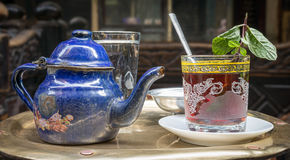 Traditional mint tea set on copper table, Cairo, Egypt Stock Photos
