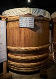 Miso factory, Japan, August 2017. Traditional miso barrel at Soybean paste factory, Japan, August 2017 Stock Photo