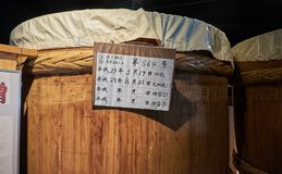Miso factory, Japan, August 2017. Traditional miso barrel at Soybean paste factory, Japan, August 2017 Royalty Free Stock Photo
