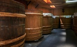 Miso factory, Japan, August 2017. Traditional miso barrel at Soybean paste factory, Japan, August 2017 Stock Image