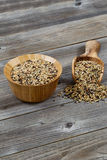 Traditional Mixed Grain Rice with Kitchenware on Rustic Wood Royalty Free Stock Images