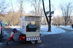 Traditional mobile cafeteria in the city centre of Odessa. stock photography
