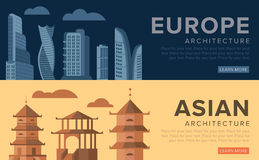 Traditional and modern architecture. On the example of skyscrapers and pagodas. Vector illustration Royalty Free Stock Images
