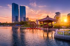 Traditional and modern architecture of seoul city in sunset, cen Stock Photo