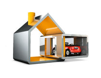 Traditional and modern house with garage. Family home. 3d illustration. Royalty Free Stock Images